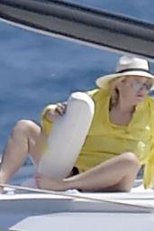 Rebel Wilson - sunbathing on a luxury yacht in Portofino 08/07/2021
