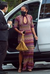 Regina King in a Long Patterned Dress and Strappy Heels - LA 08/24/2021