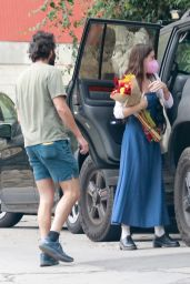 Scout Willis Wears a Long Denim Dress and Black Leather Shoes - Los Angeles 08/23/2021
