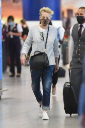 Sharon Stone at JFK Airport in New York 08/28/2021
