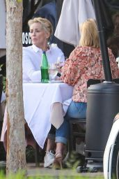 Sharon Stone in a Pink Blazer and Matching Pink Purse at Toscana Restaurant in Brentwood 08/12/2021