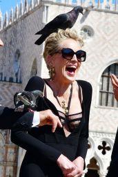 Sharon Stone in Tight Black Dress - Dolce & Gabbana Event in Venice 08/30/2021