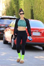 Sofia Boutella Wears Green Snake Print Top and Neon Yellow Socks - West Hollywood 08/27/2021