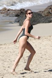 Stephanie Seymour in a swimsuit on the beach in St. Barts (2012)