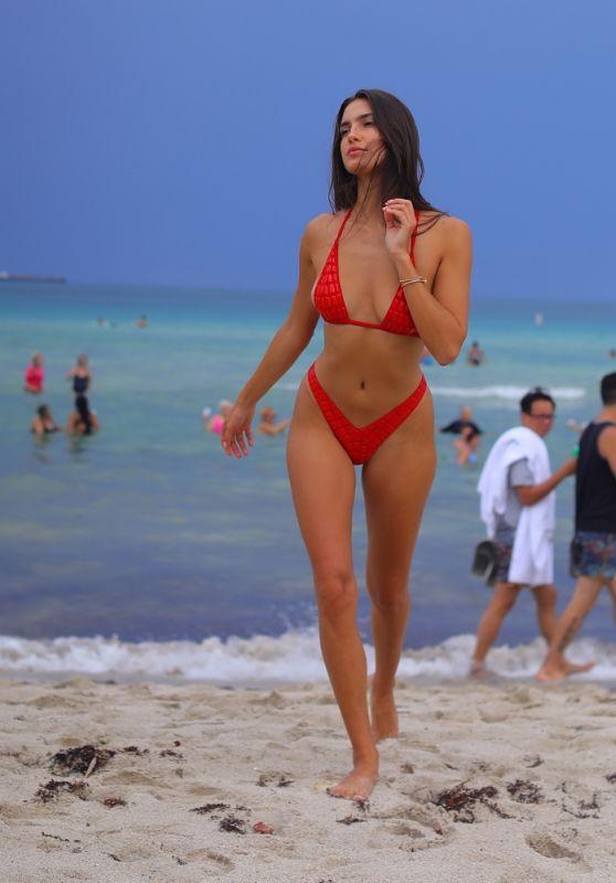 Tao Wickrath in a Red Bikini - Beach in Miami 08/02/2021