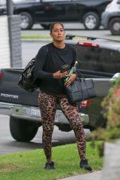 Tracee Ellis Ross in Animal Print Leggings and a Black Sweater - Santa Monica 08/19/2021