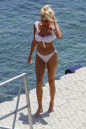 Victoria Silvstedt in a White Bikini on a Beach in Mykonos 08/01/2021