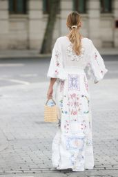 Vogue Williams in a White Summer Floral Dress - London 08/01/2021