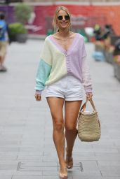 Vogue Williams in Daisy Duke Hot-Pants and Patterned Cardigan - London 08/08/2021