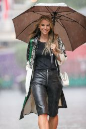 Vogue Williams in Leather Shorts - London 08/07/2021