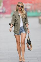 Vogue Williams Leggy in Tiny Daisy Duke Denim Shorts in London 08/22/2021