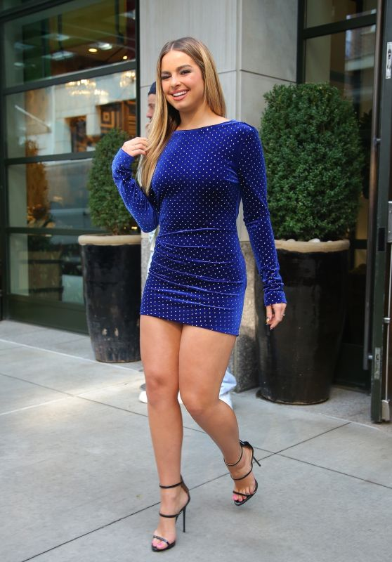 Addison Rae in a Navy Blue Mini Dress - New York 09/08/2021