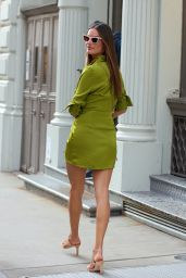 Alessandra Ambrosio in a Green Dress Walking in Soho, Manhattan 09/08/2021