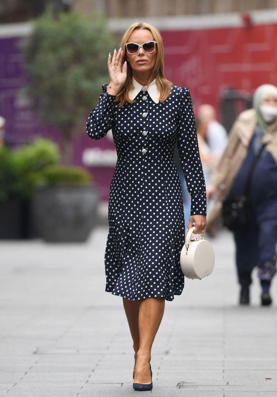 Amanda Holden in a Collard Polka Dot Dress - London 09/10/2021
