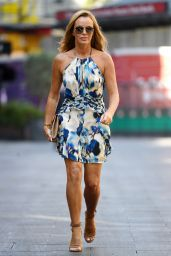 Amanda Holden in a Colourful Halterneck Summer Dress - London 09/08/2021