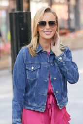 Amanda Holden in a Glowing Pink Dress and Denim Jacket - London 09/16/2021