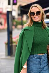 Amanda Holden in a Green Crop Top and Flared Denim - London 09/28/2021