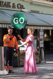Amanda Holden in a Pink Jumpsuit - London 09/21/2021