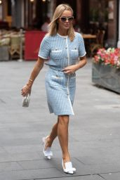 Amanda Holden in Checkered Short Dress and Stylish Shoes - London 09/20/2021