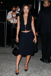 Amina Muaddi - Arriving to the Versace Fashion Show in Milan 09/24/2021