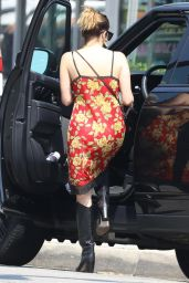 Ashley Benson in a Red Floral Dress and Black Cowboy Boots in LA 09/07/2021