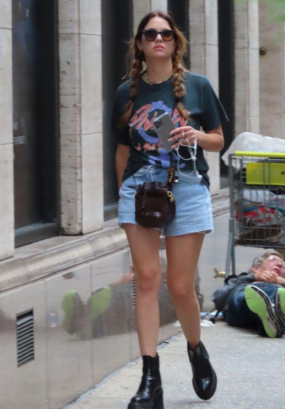 Ashley Benson in Denim Shorts in New York 09/16/2021