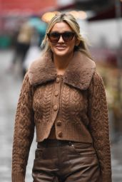 Ashley Roberts in Cardigan and Brown Leather Trousers - London 09/30/2021