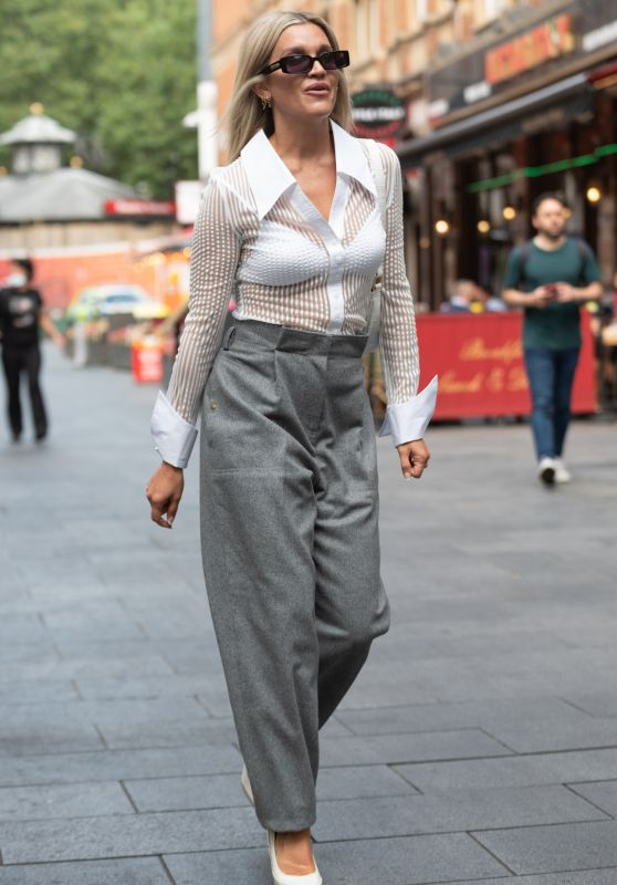 Ashley Roberts in Sheer Shirt and Grey Loose Fit Trousers - London 09/03/2021