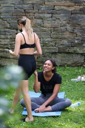 Bailee Madison and Chandler Kinney - Outdoor Yoga Filming in New York 08/30/2021