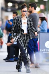 Bella Hadid in a Patterned Outfit - New York 09/21/2021