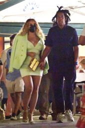 Beyonce in a Lime Green Dress in Portofino 09/12/2021