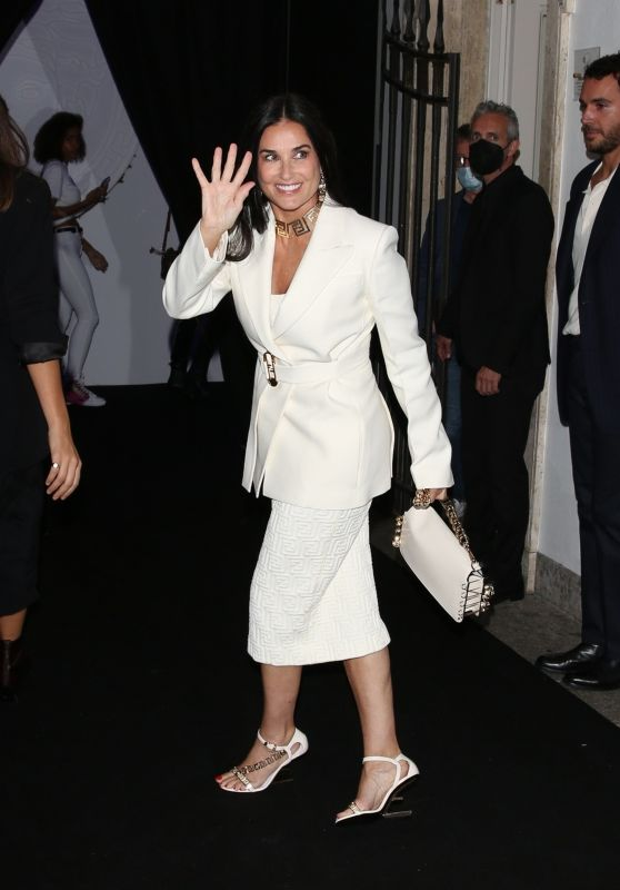 Demi Moore - Arrives at the Versace Fendi Drop Collection in Milan 09/26/2021