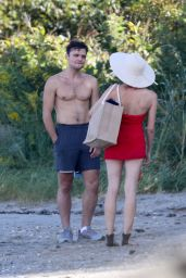 """Diane Kruger in a Red Swimsuit - """"Out of the Blue"""" Set in Warwick, Rhode Island 09/14/2021"""