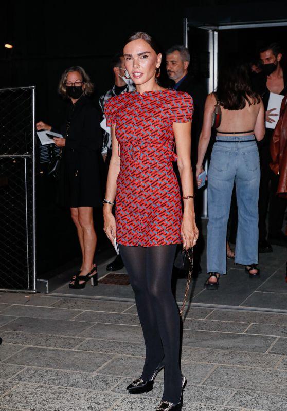 Evangelie Smyrniotaki – Arriving to the Versace Fashion Show in Milan 09/24/2021