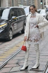 Francesca Sofia Novello at the Ermanno Scervino Fashion Show in Milan 09/25/2021
