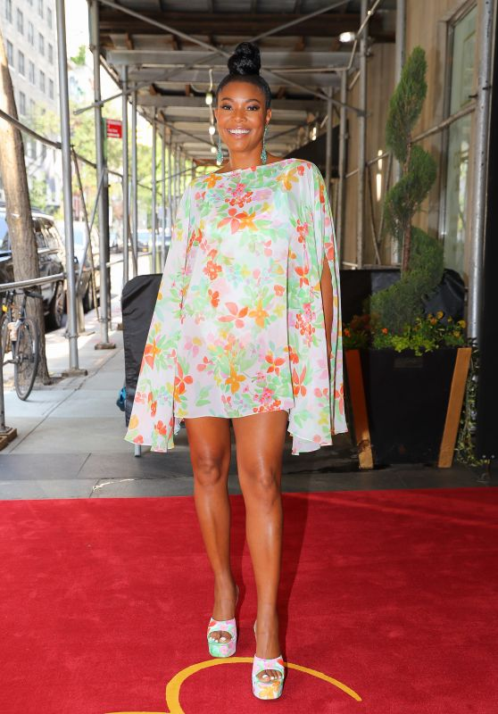 Gabrielle Union in a Floral Dress - New York City 09/13/2021