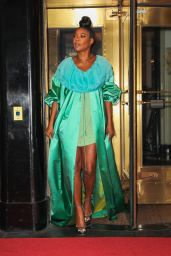 Gabrielle Union in a Green Dress - NYC 09/13/2021