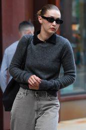 Gigi Hadid in a Grey Sweater in NY 09/10/2021