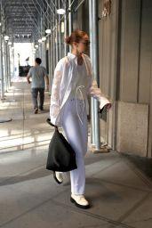 Gigi Hadid in an All-white Ensemble - NYFW 09/11/2021