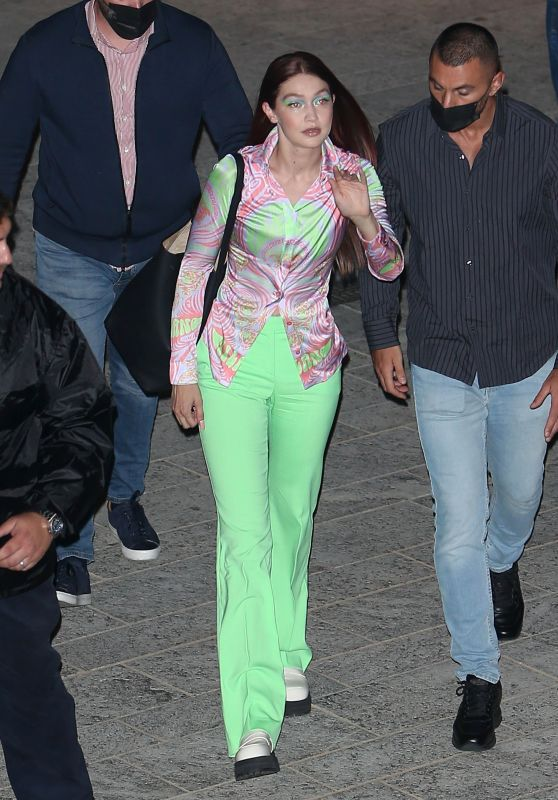 Gigi Hadid - Leaving the Versace Runway Show in Milan 09/24/2021