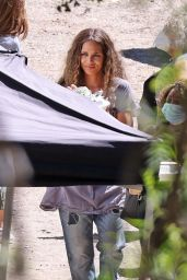 Halle Berry - Filming a Commercial for Sweaty Betty Workout Clothes in Malibu 09/14/2021