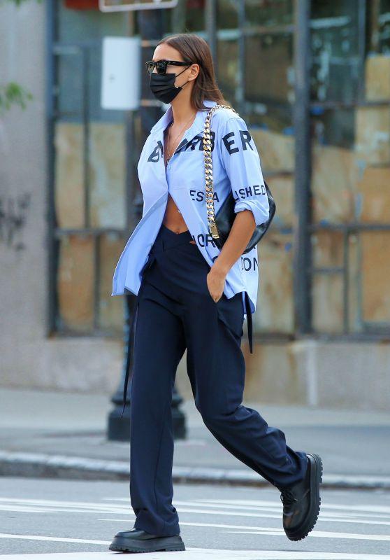 Irina Shayk in an Oversized Blue Dress Shirt and Navy Pants - New York 09/13/2021