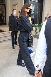 Irina Shayk in Pinstriped Dress Pants and a Matching Top - Milan 09/27/2021