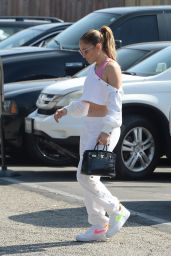 Jennifer Lopez in Pink Sports Bra and White Crop Top - Los Angeles 09/16/2021