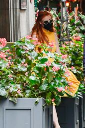 Jessica Chastain in a Yellow Dress - Soho in NYC 09/16/2021