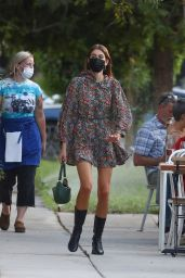 Kaia Gerber in a Floral Print Dress and Black Leather Boots - Silverlake 09/22/2021