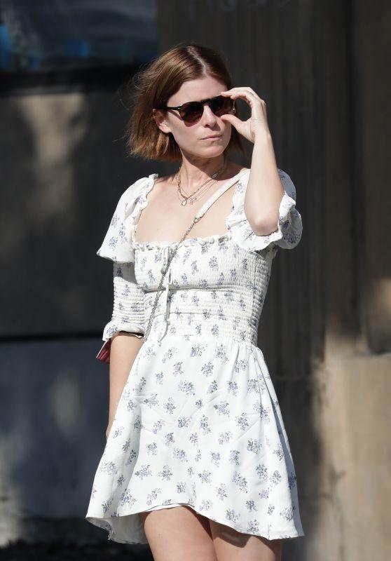 Kate Mara Wears a Floral White Dress - Out in Los Feliz 09/20/2021