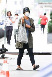 """Katie Holmes """"Is spotted wearing a green jacket and leather bucket hat in New York"""" (16.09.2021) 13x"""
