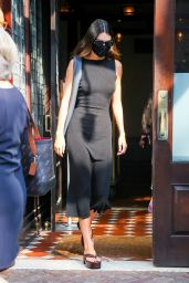 Kendall Jenner in All Black Dress with Platform Sandals - New York 09/13/2021