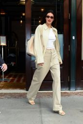 Kendall Jenner Wears Khaki Suit and Matching Heels - New York 09/14/2021